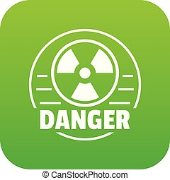 Radiation icon green vector isolated on white background