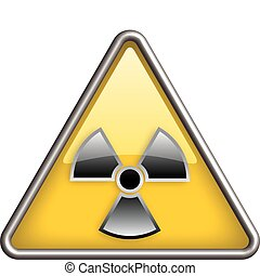 Hazard radiation icon in yellow triangle