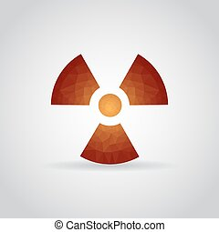 Radiation icon in polygonal style on a gray background