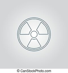 Radiation Flat web icon, sign or button isolated on grey background. Collection modern trend concept design style vector illustration symbol