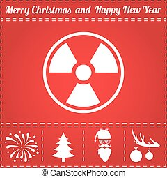 Radiation Icon Vector. And bonus symbol for New Year - Santa Claus, Christmas Tree, Firework, Balls on deer antlers