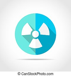 White radiation sign in flat design with long shadow. Vector illustration. Simple radiation icon on blue round button.