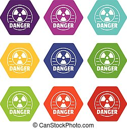 Radiation icons set 9 vector - Radiation icons 9 set coloful...