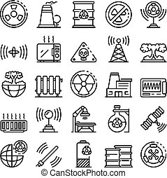 Radiation icons set. Outline set of radiation vector icons for web design isolated on white background