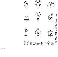 Radiation icons set.