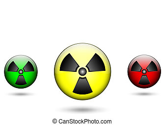 Radiation - Illustration of the colored radiation signs with...