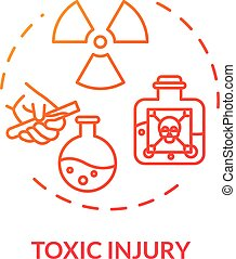 Radiation intoxication concept icon. Poisonous mixture. Toxic injury, radioactivity effect, human organism poisoning thin line illustration. Vector isolated outline RGB color drawing