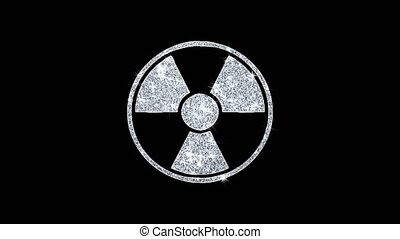 Radiation Nuclear Caution Icon Sparkling Shining White Blinking Particles Diamond Glitter Loop Light 4K Animation Alpha Channel.