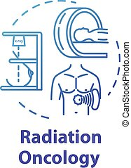 Radiation oncology concept icon. Diagnosis and treatment of cancer. Tumor therapy. Radiotherapy idea thin line illustration. Vector isolated outline RGB color drawing