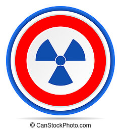 Radiation round icon, red, blue and white french design illustration for web, internet and mobile applications