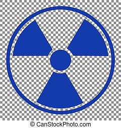 Radiation Round sign. Blue icon on transparent background.