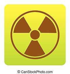 Radiation Round sign. Vector. Brown icon at green-yellow gradient square with rounded corners on white background. Isolated.