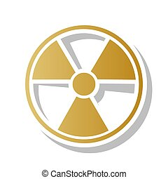 Radiation Round sign. Vector. Golden gradient icon with...