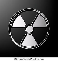 Radiation Round sign. Vector. Gray 3d printed icon on black...