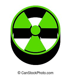 Radiation Round sign. Vector. Green 3d icon with black side on w
