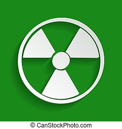 Radiation Round sign. Vector. Paper whitish icon with soft shadow on green background.