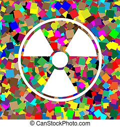 Radiation Round sign. Vector. White icon on colorful background