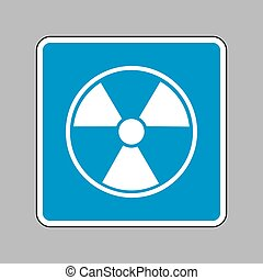 Radiation Round sign. White icon on blue sign as background.