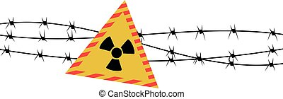 Vector illustration of radiation sign and barbed wire