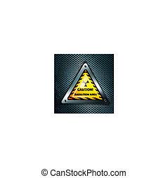 radiation sign at metal grid