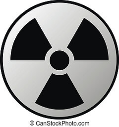 Radiation sign button on white background. Vector illustration.