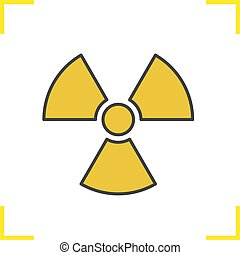 Radiation sign color icon. Radioactive danger symbol. Nuclear energy. Isolated vector illustration