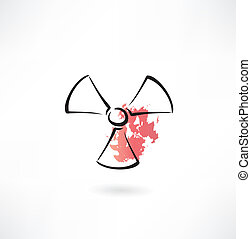 radiation sign grunge icon