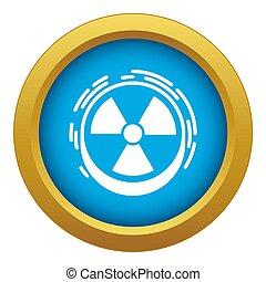 Radiation sign icon blue isolated