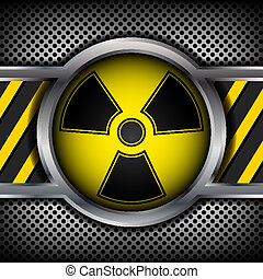 Radiation sign on a metal background