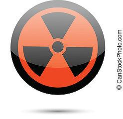 Radiation sign on white