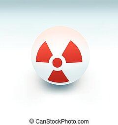 radiation sign on white ball