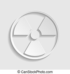 Radiation sign. Paper style icon. Illustration.