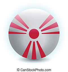 An abstract vector illustration of a radiation sign, combined with the Rising Sun flag of Japan.