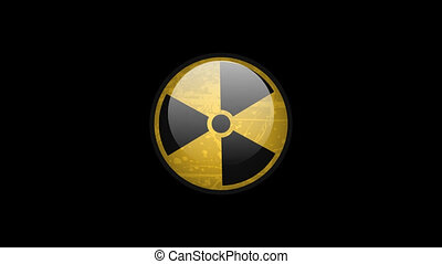 Radiation Sign Rotates. Motion Graphics. Transparent...