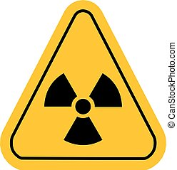 Radiation sign in yellow triangle. Vector illustration.