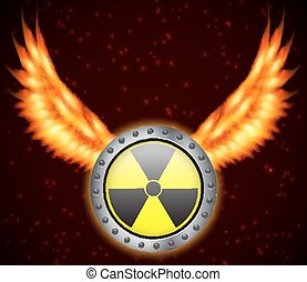 Radiation sign with fire wings. EPS10 vector
