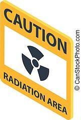 radiation, style, secteur, isométrique, icône