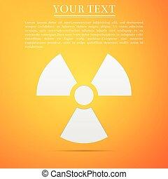 Radiation symbol flat icon on yellow background. Vector Illustration