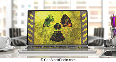 Radiation symbol on a computer screen, blur office background. 3d illustration