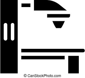 radiation therapy machine glyph icon vector. radiation therapy machine sign. isolated contour symbol black illustration