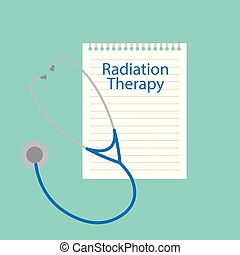 Radiation therapy written in a notebook- vector illustration