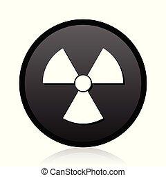 Radiation vector black icon. Round atom sign. Web nuclear symbol.