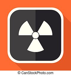 Radiation vector icon. Flat design square internet gray button on orange background.