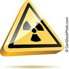 Radiation warning 3D sign icon isolated on white background.