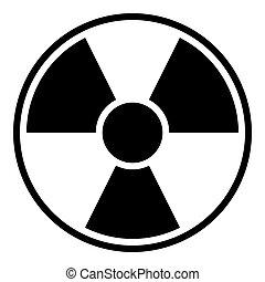 Round radiation warning sign on white background