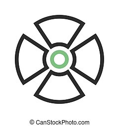Radiation, radioactive, radio therapy icon vector image. Can also be used for healthcare and medical. Suitable for mobile apps, web apps and print media.