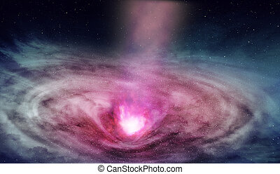 radiations, 從, 极大, 原子核, 在, 深, 空間