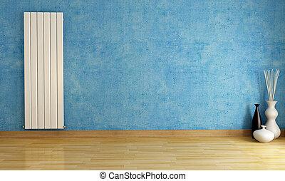 radiator, blå, rum, tom