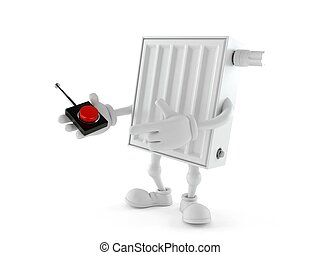Radiator character pushing button on white background