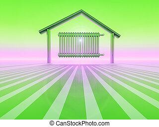 radiator inside a home shape